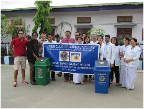 Lions Club of Imphal Valley donates dust bins and tree saplings for PMR department, RIMS