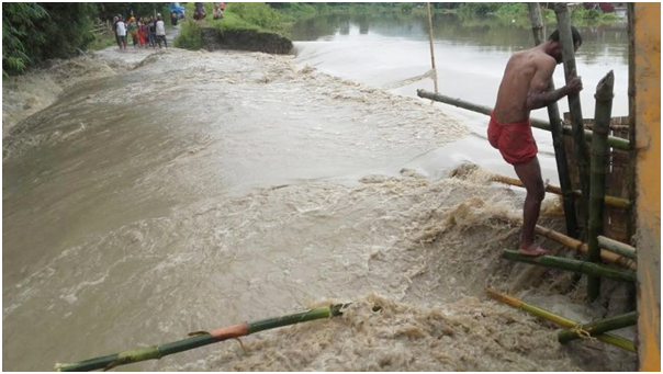 Thongju flooded as Iril river bank caves in Imphal, Nambul, Iril and Thoubal rivers